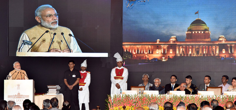 Prime Minister Narendra Modi addressing the gathering at the inauguration ceremony of Phase-II of Rashtrapati Bhavan Museum, in New Delhi on July 25, 2016