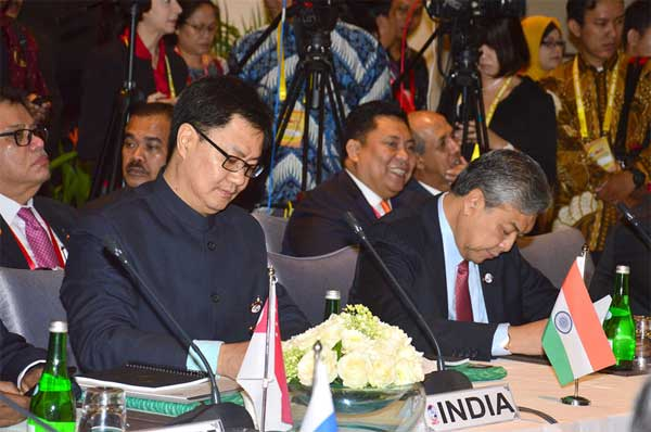 The Minister of State for Home Affairs, Kiren Rijiju participating in the International Meeting on Counter - Terrorism, in Bali, Indonesia on August 10, 2016.