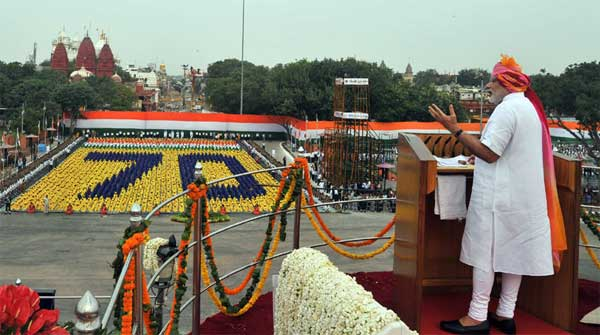The Prime Minister, Narendra Modi addressing the Nation on the occasion of 70th Independence Day from the ramparts of Red Fort, in Delhi on August 15, 2016.