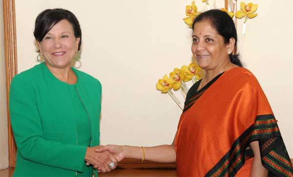 The United States Secretary of Commerce, Penny Pritzker meeting the Minister of State for Commerce & Industry (Independent Charge), Nirmala Sitharaman, in New Delhi on August 30, 2016.