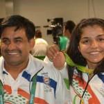 Indian wrestler Sakshi Malik and coach Kuldeep Singh at Rio Olympics