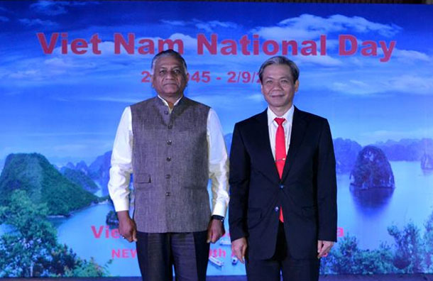 MoS External Affairs, Gen (Retd.) V K Singh with Ambassador of Vietnam to India, H.E. Mr. Ton Sinh Thanh at the National Day Reception