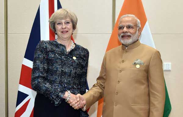 The Prime Minister, Narendra Modi meeting the Prime Minister of United Kingdom (UK), Theresa May, on the sidelines of G20 Summit 2016, in Hangzhou, China on September 05, 2016.