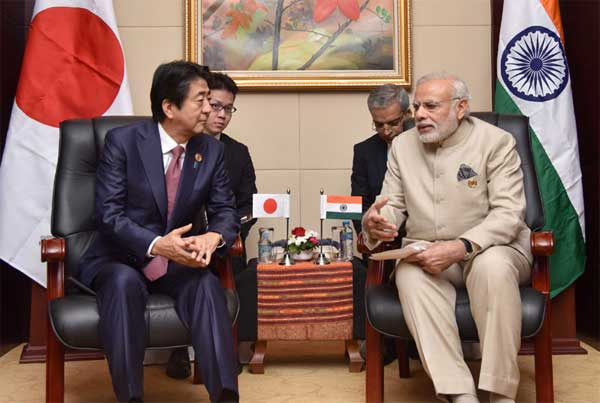 The Prime Minister, Narendra Modi meeting the Prime Minister of Japan, Shinzo Abe, on sideline of the 14th ASEAN India and 11th East Asia Summits, at Vientiane, Lao PDR on September 07, 2016.