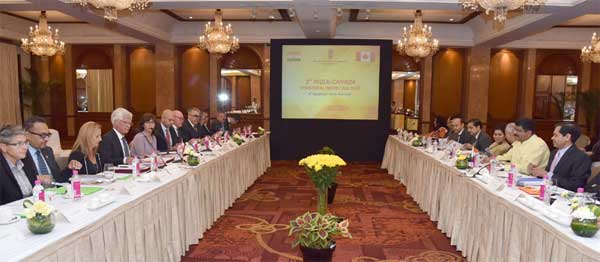 The Minister of State for Petroleum and Natural Gas (Independent Charge), Dharmendra Pradhan and the Canadian Minister of Natural Resources, James Gordon Carr at the delegation level talks, during the 3rd India-Canada Ministerial Energy Dialogue, in New Delhi on September 08, 2016.