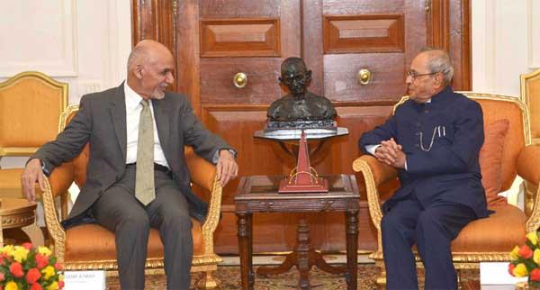 The President of Afghanistan, Dr. Mohammad Ashraf Ghani meeting the President, Pranab Mukherjee, at Rashtrapati Bhavan, in New Delhi on September 14, 2016.