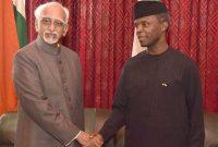 Vice President, M. Hamid Ansari with the Vice President of Nigeria, Yemi Osinbajo, in Abuja, Nigeria on September 26, 2016.