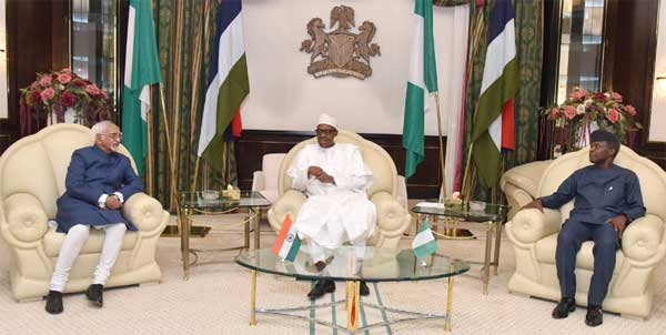 The Vice President, M. Hamid Ansari calling on the President of Nigeria, Muhammadu Buhari at the State House, in Abuja, Nigeria on September 27, 2016. The Vice President of Nigeria, Yemi Osinbajo is also seen.