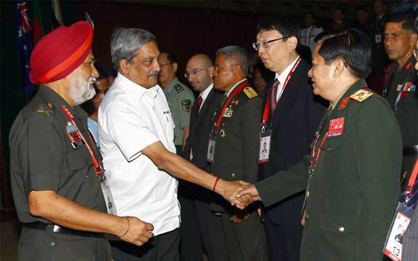 The Union Minister for Defence, Manohar Parrikar being introduced to the Heads of member countries and organisations of ASEAN Regional Forum (ARF) - Heads of Defence Universities/Colleges/Institutions Meet (HDUCIM), in New Delhi on October 06, 2016. The Commandant, NDC and Chairman of the Meet, Lt. Gen. N.S. Ghei is also seen.