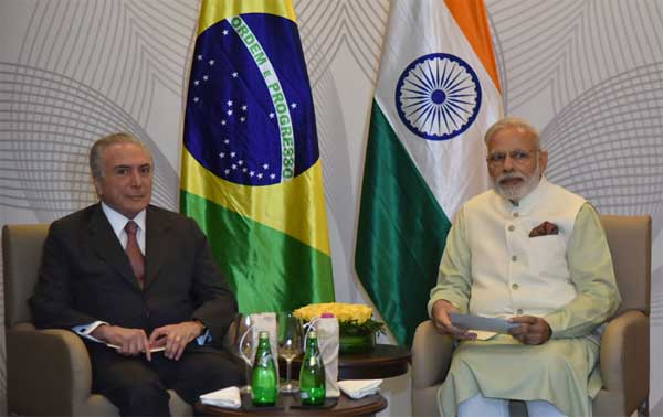 Prime Minister, Narendra Modi and the President of Brazil, Michel Temer, during bilateral meeting, in Goa on October 17, 2016.