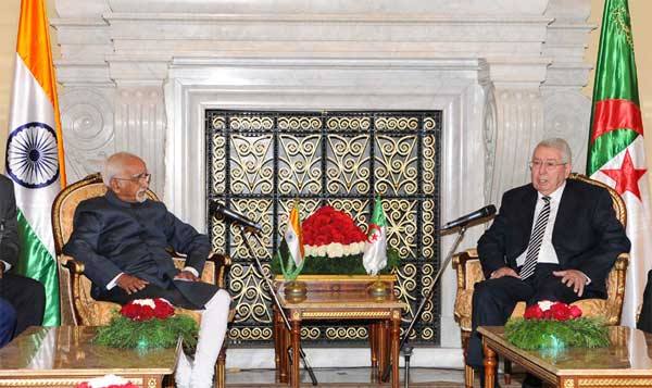 The Vice President, M. Hamid Ansari with the President of Council of the Nation of Algeria, Abdelkader Bensalah, at the Council of Nation, in Algiers, Algeria.