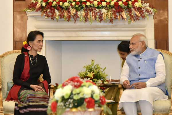 The Prime Minister, Narendra Modi in a meeting with the State Counsellor of Myanmar, Aung San Suu Kyi, at Hyderabad House, in New Delhi on October 19, 2016.
