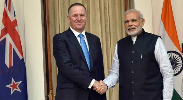 The Prime Minister, Narendra Modi with the Prime Minister of New Zealand, John Key, at Hyderabad House, in New Delhi on October 26, 2016.