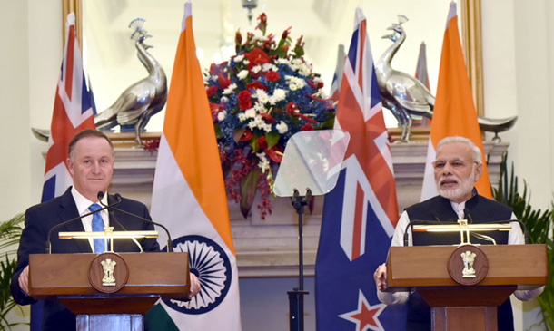 Prime Minister Shri Narendra Modi and the Prime Minister of New Zealand, Mr. John Key, at the Joint Press Statement at Hyderabad House in New Delhi on October 26 2016