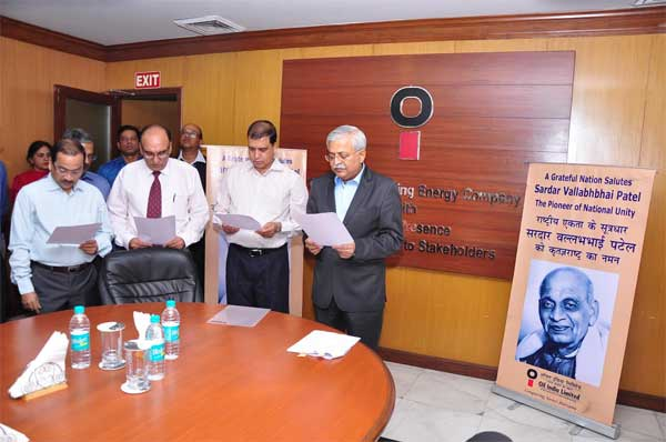 Sri Biswajit Roy, Director (HR&BD), OIL administering the Pledge on the occasion of the RashtriyaEkta Divas to a gathering of the company's employees on 31st October, 2016in its Corporate Office in Noida