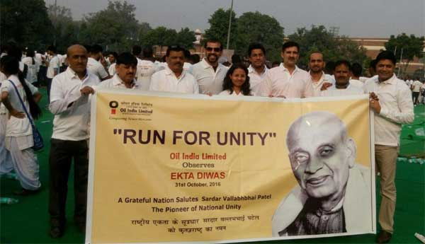 "Oil India Limited's contingent participated in the ""Run for Unity"", which was flagged off by the Hon'ble Prime Minister from the National Stadium in Delhi, on the occasion of RashtriyaEkta Divas on 31st October, 2016"