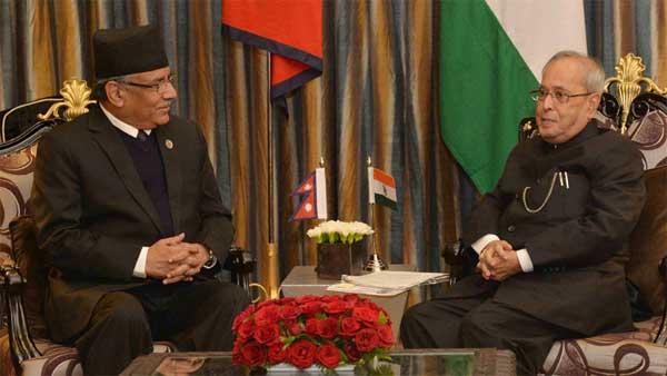 The Prime Minister of Nepal, Pushpa Kamal Dahal calling on the President, Pranab Mukherjee, at Kathmandu, in Nepal