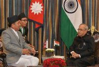 The Vice President of Nepal, Nanda Bahadur Pun calling on the President, Pranab Mukherjee, at Kathmandu, in Nepal