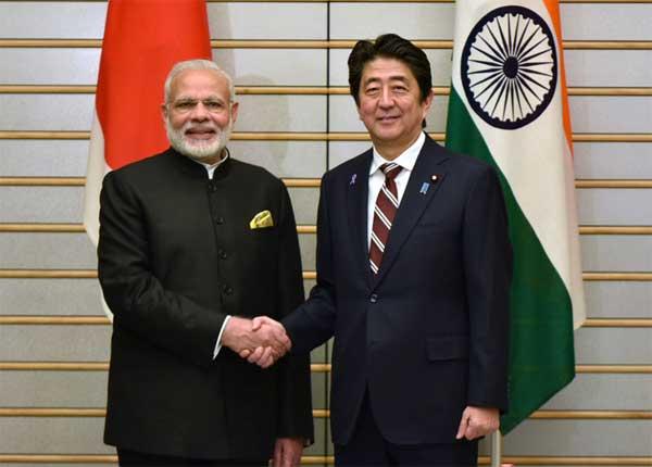 The Prime Minister, Narendra Modi with the Prime Minister of Japan, Shinzo Abe, at Kantei (Japan Prime Minister's Official Residence), in Tokyo, Japan on November 11, 2016.