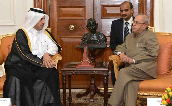The Prime Minister of Qatar, Sheikh Abdullah bin Nasser bin Khalifa Al Thani calling on the President, Pranab Mukherjee, at Rashtrapati Bhavan, in New Delhi on December 03, 2016.