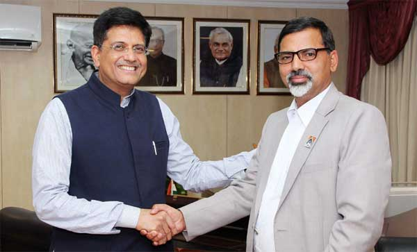 The Minister of Energy, Nepal, Janardan Sharma Prabhakar meeting the Minister of State for Power, Coal, New and Renewable Energy and Mines (Independent Charge), Piyush Goyal, in New Delhi on December 05, 2016.