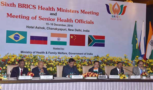 The Union Minister for Health & Family Welfare, Shri J.P. Nadda addressing the Health Ministers from BRICS member countries, in New Delhi on December 16, 2016. The Minister of State for AYUSH (Independent Charge), Shri Shripad Yesso Naik and other senior officers from the Ministry of Health and Family Welfare and the Ministry of AYUSH are also seen.