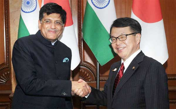 The Minister of State for Power, Coal, New and Renewable Energy and Mines (Independent Charge), Piyush Goyal and the Minister of Economy, Trade and Industry, Japan, Hiroshige Seko in a bilateral meeting, on the sidelines of the Indo-Japan Energy Forum 2017, in New Delhi on January 09, 2017.