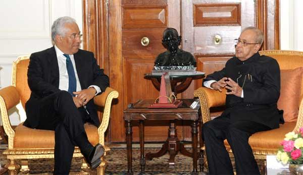 The Prime Minister of Portuguese Republic, Antonio Costa meeting the President, Pranab Mukherjee, at Rashtrapati Bhawan, in New Delhi on January 07, 2017.