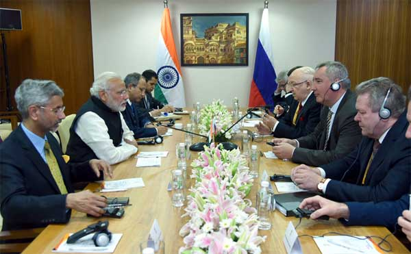 The Prime Minister, Narendra Modi in a meeting with the Deputy Prime Minister of Russia, Dmitry Rogozin