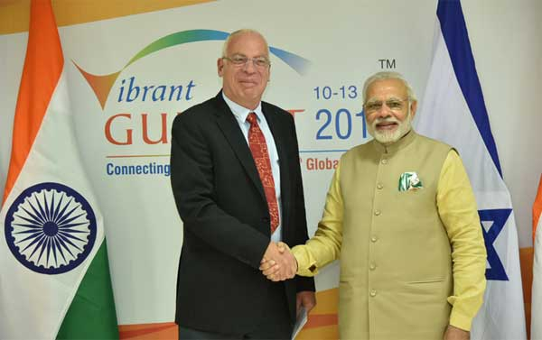 The Minister of Agriculture and Rural Development of Israel, Uri Ariel calling on the Prime Minister, Narendra Modi, on the sidelines of the Vibrant Gujarat Global Summit 2017, in Gandhinagar, Gujarat on January 10, 2017.