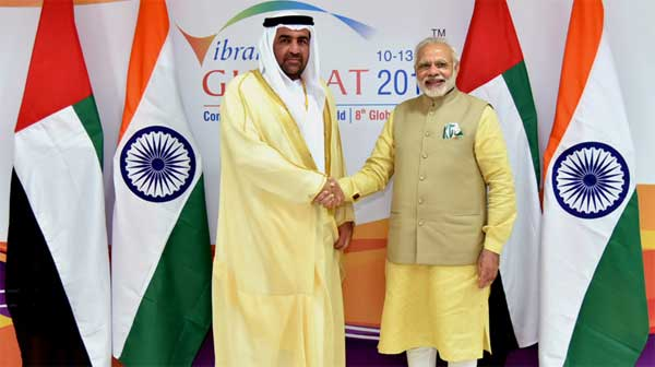 The Cabinet Member and Minister of State of the United Arab Emirates, Dr. Rashid Ahmad bin Fahad calling on the Prime Minister, Narendra Modi, on the sidelines of the Vibrant Gujarat Global Summit 2017, in Gandhinagar, Gujarat on January 10, 2017.