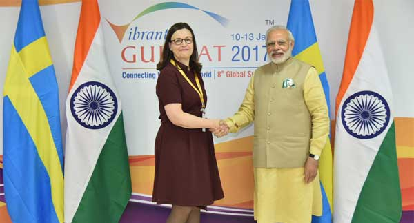 The Prime Minister, Narendra Modi meeting the Swedish Education Minister, Anna Ekstrom, on the sidelines of the Vibrant Gujarat Global Summit 2017, in Gandhinagar, Gujarat on January 10, 2017.