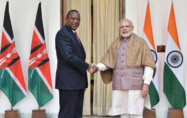 The Prime Minister, Narendra Modi with the President of Kenya, Uhuru Kenyatta, at Hyderabad House, in New Delhi on January 11, 2017.