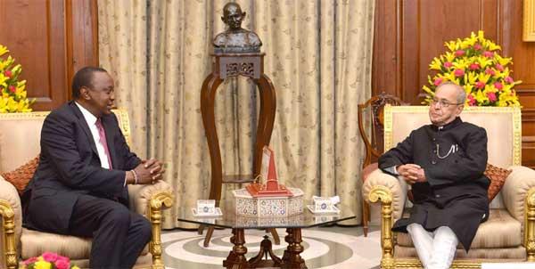 The President of Kenya, Uhuru Kenyatta meeting the President, Pranab Mukherjee, at Rashtrapati Bhawan, in New Delhi on January 11, 2017.