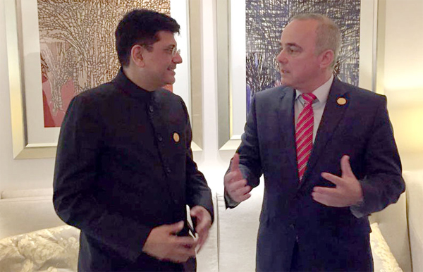 The Minister of State for Power, Coal, New and Renewable Energy and Mines (Independent Charge), Piyush Goyal Meeting the Energy Minister of Israel, Dr. Yuval Steinitz and discussed expanding our cooperation in delivering sustainable energy solutions, in Abu Dhabi, UAE on January 15, 2017.