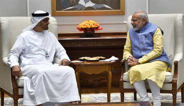 The Prime Minister, Narendra Modi in a restricted meeting with the Crown Prince of Abu Dhabi, Deputy Supreme Commander of U.A.E. Armed Forces, General Sheikh Mohammed Bin Zayed Al Nahyan, at 7, Lok Kalyan Marg, in New Delhi on January 25, 2017.