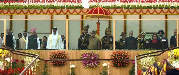 The President, Pranab Mukherjee, the Vice President, M. Hamid Ansari and the Prime Minister, Narendra Modi with the Chief Guest of the Republic Day, The Crown Prince of Abu Dhabi, Deputy Supreme Commander of U.A.E. Armed Forces, General Sheikh Mohammed Bin Zayed Al Nahyan, at Rajpath, on the occasion of the 68th Republic Day Parade 2017, in New Delhi on January 26, 2017. The Union Minister for Defence, Manohar Parrikar and other dignitaries are also seen.