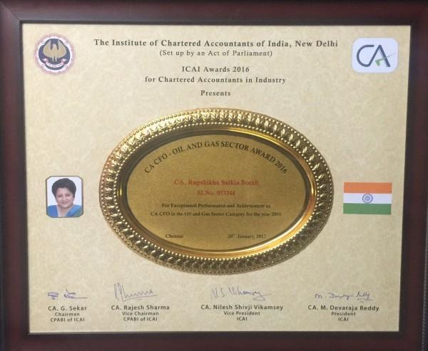 Award Citation_Best CFO Award for OIL's Director (Finance) by ICAI_ 20th January 2017