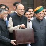 The Union Minister for Finance and Corporate Affairs, Arun Jaitley departs from North Block to Rashtrapati Bhavan and Parliament House, along with the Minister of State for Finance and Corporate Affairs, Arjun Ram Meghwal and the Minister of State for Finance, Santosh Kumar Gangwar to present the General Budget 2017-18, in New Delhi on February 01, 2017.