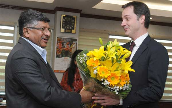 The Deputy Prime Minister of Belgium, Alexander De Croo meeting the Union Minister for Electronics & Information Technology and Law & Justice, Ravi Shankar Prasad, in New Delhi on February 07, 2017.