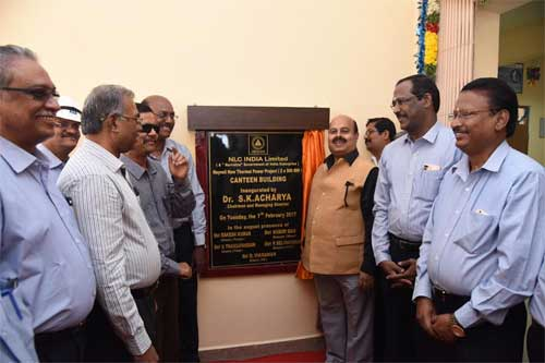 Dr. Sarat Kumar Acharya,CMD NLC India Limited, after inaugurating the Canteen Building, constructed in the Neyveli New Thermal Power Project Complex. Also seen are, Shri Subir  Das, Shri V. Thanga Pandiyan, Shri P. Selvakumar, Shri R. Vikraman, Directors and Shri N. Muthu, Executive Director of NLC India Limited.