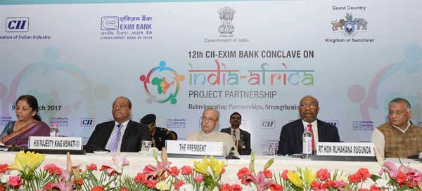The President, Pranab Mukherjee at the inaugural session of the 12th CII-Exim Bank Conclave, in New Delhi on March 09, 2017. The Prime Minister of Uganda, Ruhakana Rugunda, the Minister of State for Commerce & Industry (Independent Charge), Nirmala Sitharaman and the Minister of State for External Affairs, General (Retd.) V.K. Singh are also seen.
