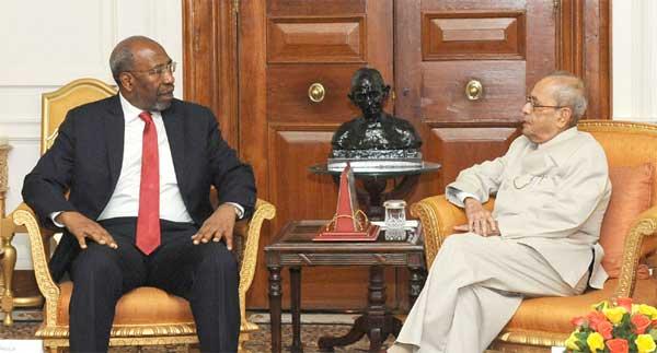 The Prime Minister of Uganda, Ruhakana Rugunda calling on the President, Pranab Mukherjee, at Rashtrapati Bhavan, in New Delhi on March 09, 2017.