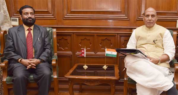 The Deputy Prime Minister and Home Minister of Nepal, Bimalendra Nidhi calling on the Union Home Minister, Rajnath Singh