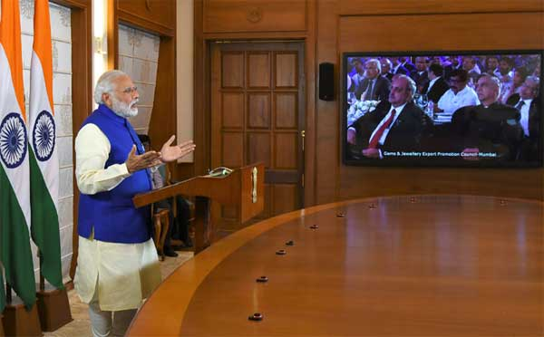 The Prime Minister, Shri Narendra Modi addressing the International Diamond Conference in Mumbai through video conferencing, in New Delhi.