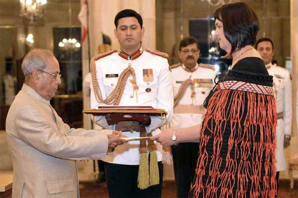 The High Commissioner-Designate of New Zealand, Joanna Kempskers presenting her credentials to the President, Pranab Mukherjee, at Rashtrapati Bhavan, in New Delhi on March 29, 2017.