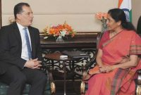 MoS for Commerce & Industry (IC), Nirmala Sitharaman and the Minister of Energy, Commerce, Industry and Tourism, Cyprus, Yiorgos Lakkotrypis