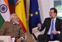 Prime Minister, Narendra Modi meeting the President of Spain, Mariano Rajoy, at La Moncloa Palace