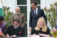 PM, Narendra Modi and the Prime Minister of Netherlands, Mark Rutte witnessing the signing of MoUs between India and Netherlands,