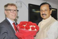 Minister of Housing, Energy and Environment, Finland, Kimmo Tiilikainen meeting the MoS for Culture (I/C) and Environment, Forest & Climate Change, Dr. Mahesh Sharma